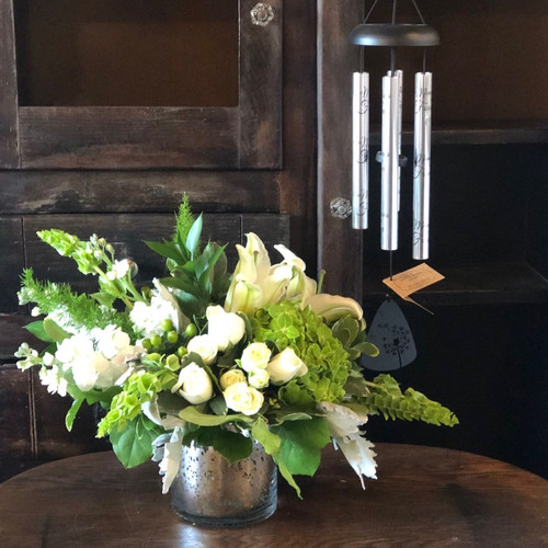 Premium Peace and Harmony Flower Arrangement with Wind Chime Sympathy Flowers Midwood Flower Shop | Charlotte Florist Delivery Service