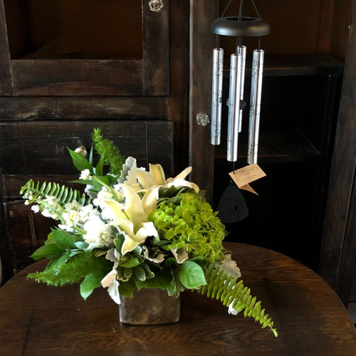 Peace and Harmony Flower Arrangement with Wind Chime Sympathy Flowers Midwood Flower Shop | Charlotte Florist Delivery Service