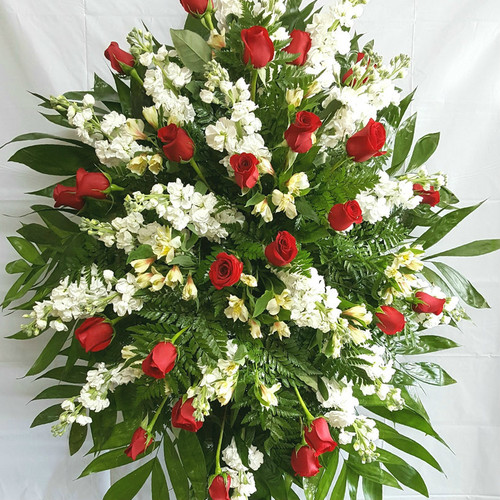 Red & White Standing Spray Sympathy Flowers Midwood Flower Shop   Charlotte Florist Delivery Service