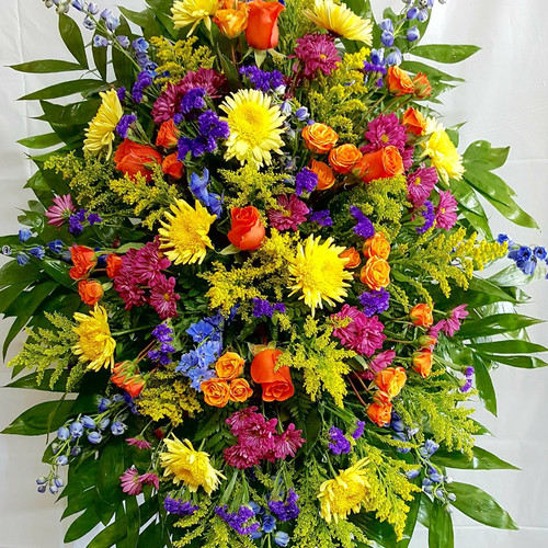 Colorful Tribute Standing Spray Sympathy Flowers Midwood Flower Shop | Charlotte Florist Delivery Service
