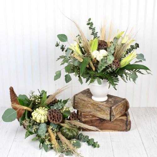 Farmhouse Fall Centerpiece & Cornucopia Combo Midwood Flower Shop   Charlotte Florist Delivery Service