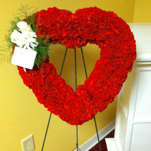 Red Heart Funeral Spray Sympathy Flowers Midwood Flower Shop | Charlotte Florist Delivery Service
