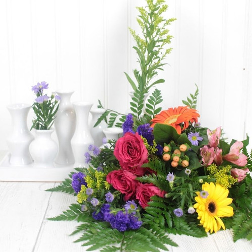 Wrapped Bouquet w/Chic Vase Set Everyday Flowers & Gifts Midwood Flower Shop | Charlotte Florist Delivery Service