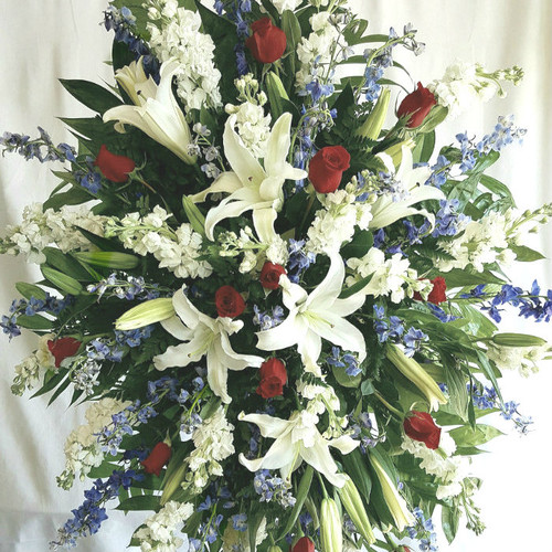 Patriotic Spray Sympathy Flowers Midwood Flower Shop | Charlotte Florist Delivery Service