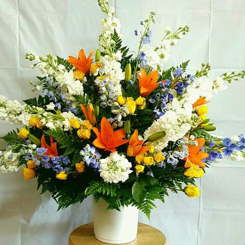 Bright Lights Flower Basket Sympathy Flowers Midwood Flower Shop | Charlotte Florist Delivery Service