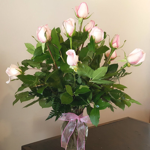 12 Pink Roses Romance & Anniversary Midwood Flower Shop | Charlotte Florist Delivery Service