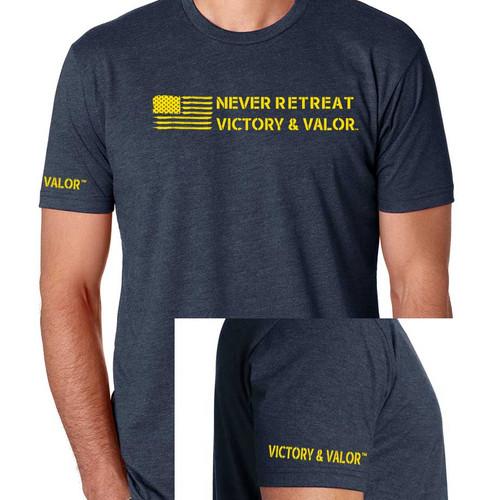 us flag tshirt never retreat victory valor