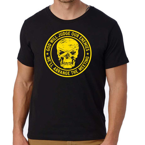 god will judge our enemies skull black tshirt