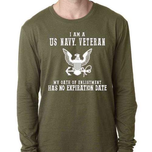 navy veteran long sleeve shirt oath enlistment and eagle emblem