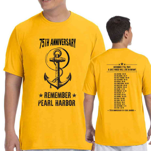 75th pearl harbor wwii anchor gold tshirt