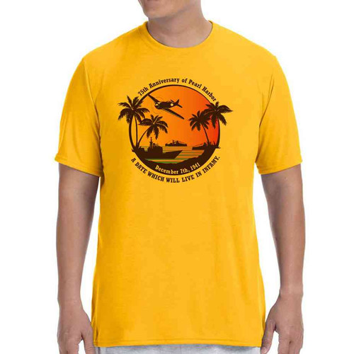 75th anniversary pearl harbor wwii vintage gold tshirt