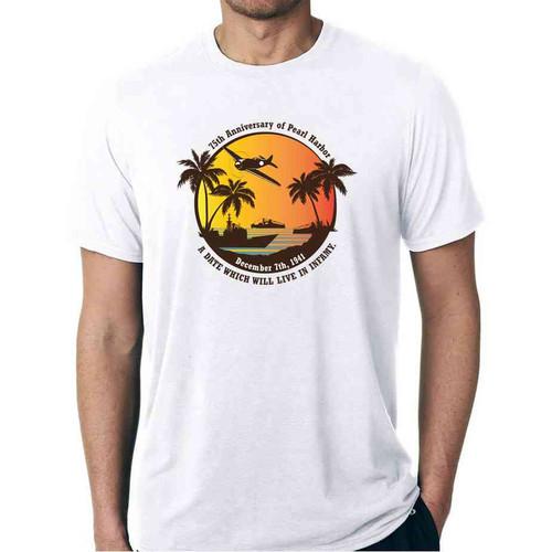 75th anniversary pearl harbor vintage white tshirt