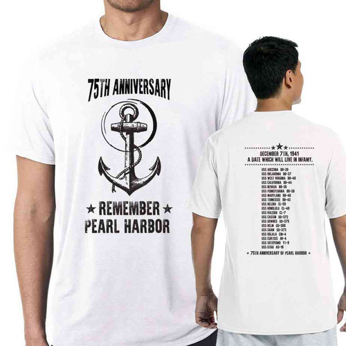 75th anniversary pearl harbor anchor white tshirt