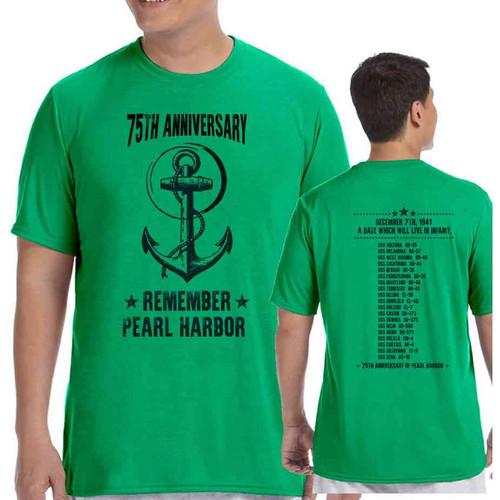 75th anniversary pearl harbor anchor green tshirt