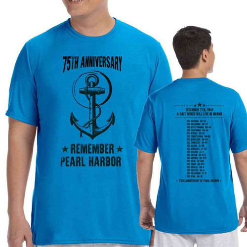 75th anniversary pearl harbor anchor sapphire blue tshirt