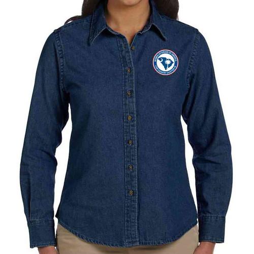wvoa long sleeve denim embroidered shirt ladies