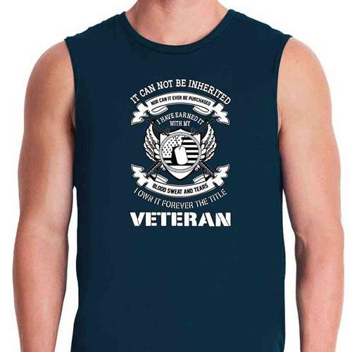 veteran i earned title navy blue sleeveless shirt