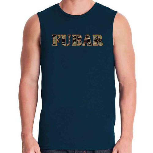 fubar navy blue sleeveless shirt