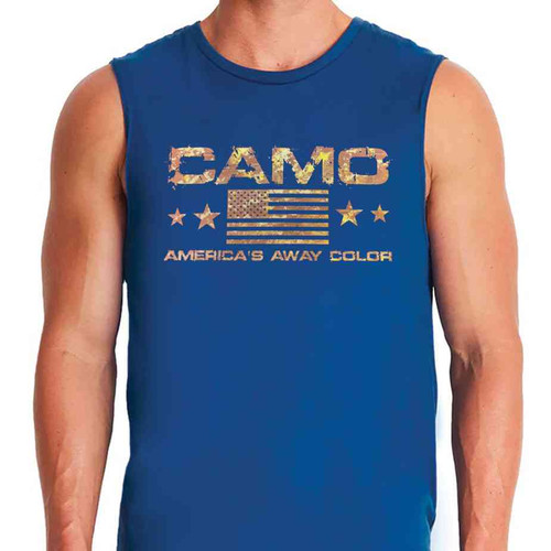 camo u s a away color royal blue sleeveless shirt