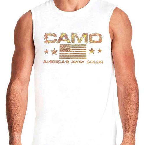 camo u s a away color white sleeveless shirt
