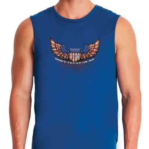 u s a eagle wings 1776 special edition royal blue sleeveless shirt