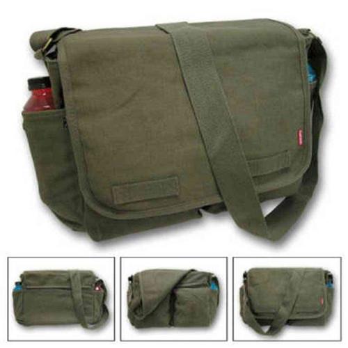 classic military messenger bag black or olive