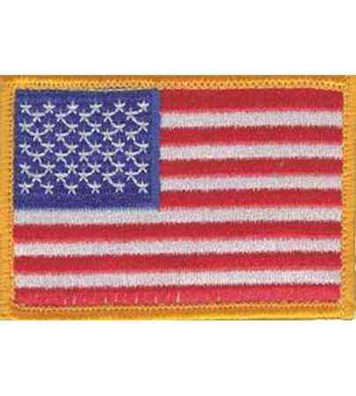 american flag hook and loop patch yellow border