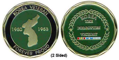 korea veteran ribbon and map challenge coin