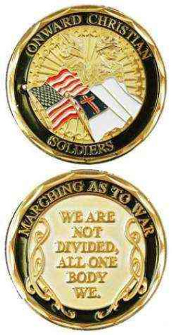 onward christian soldiersmaching as to war challenge coin