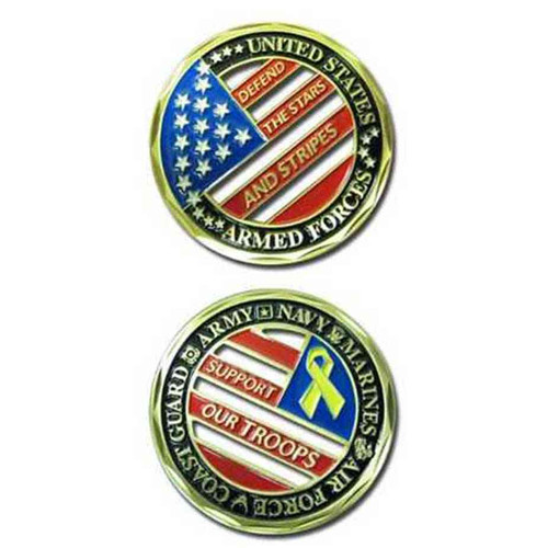 u s armed forces support our troops challenge coin