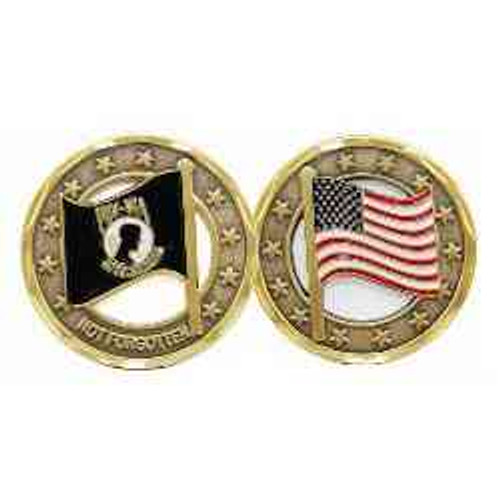 pow mia and american flag cutout challenge coin