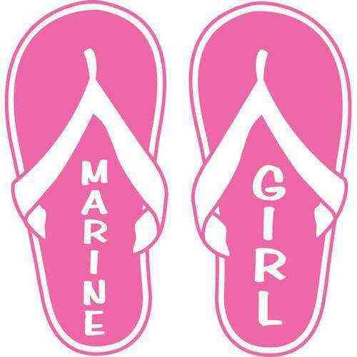 ladies marine girl flip flop vinyl transfer