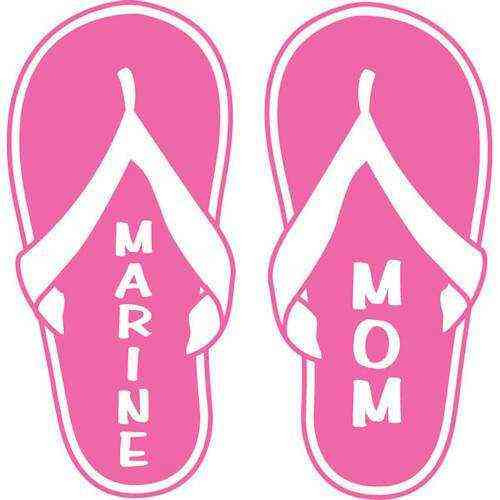 ladies marine mom flip flop vinyl transfer