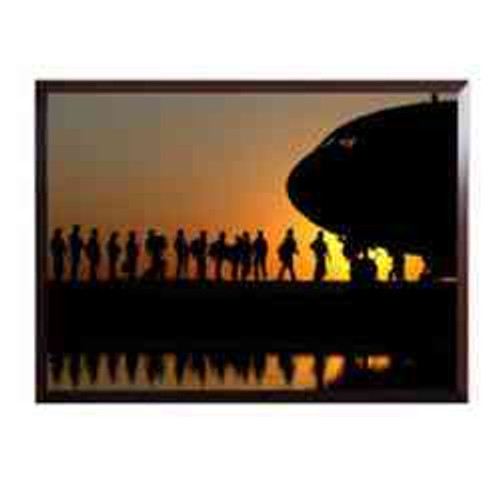 high definition framed photo army soldiers boarding a c17 at sunset