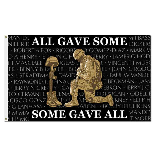 vietnam memorial wall all gave some some gave all flag
