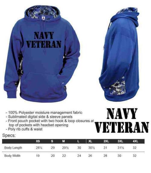 navy veteran performance digital camo hooded sweatshirt
