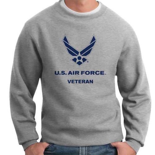 us air force veteran grey crewneck logo sweatshirt officially licensed