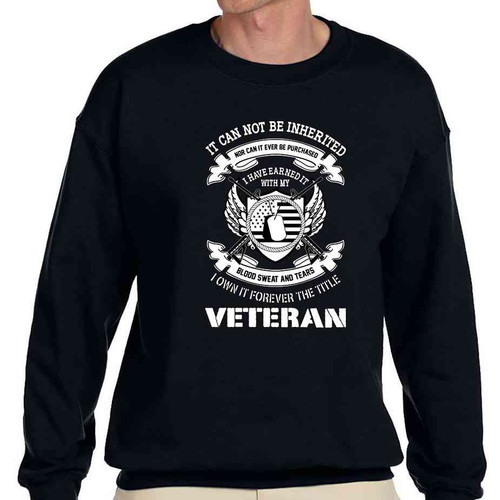 veteran i earned title black crewneck sweatshirt