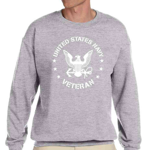 us navy veteran crewneck sweatshirt eagle emblem