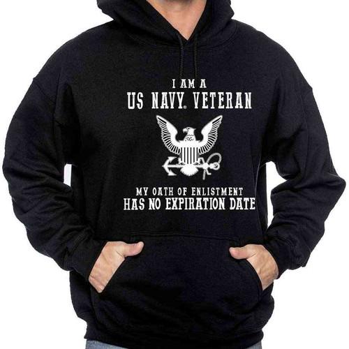 navy veteran hooded sweatshirt oath enlistment and eagle emblem