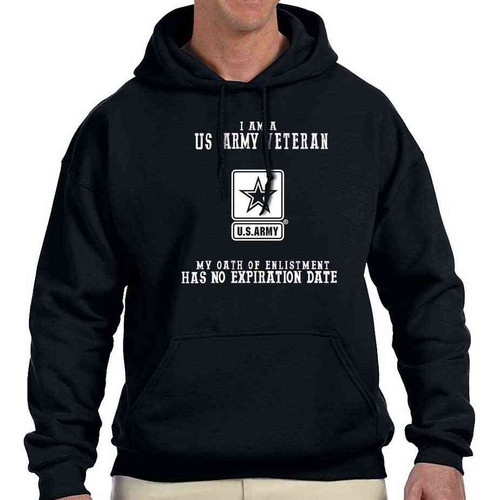 us army veteran no expiration date logo hoodie sweatshirt officially licensed