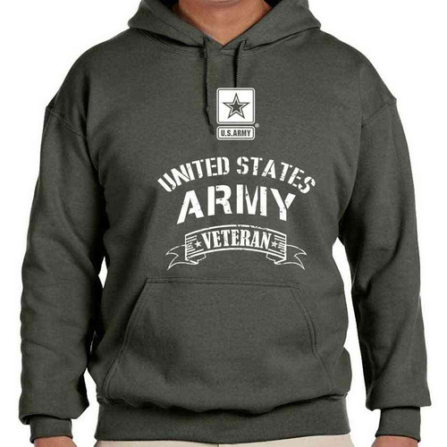 officially licensed us army veteran hooded sweatshirt in olive drab with us army logo