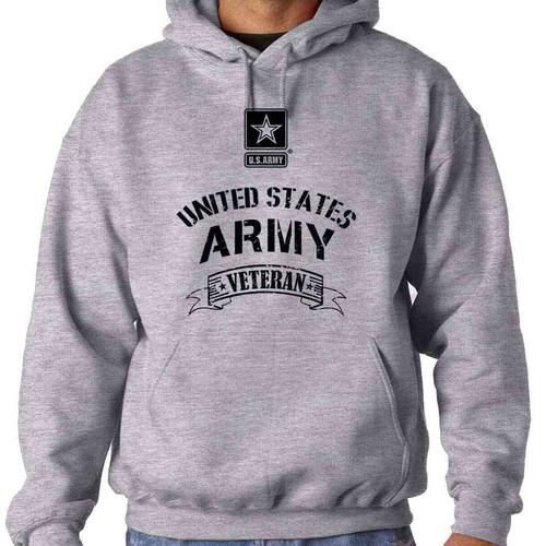 grey united states army veteran banner hoodie sweatshirt us army star logo officially licensed