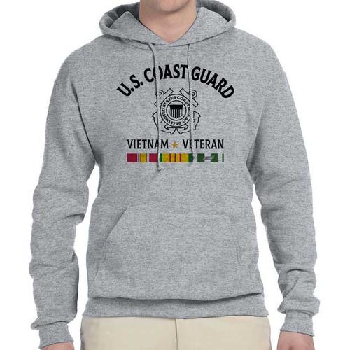 us coast guard vietnam veteran hooded sweatshirt 3 ribbons