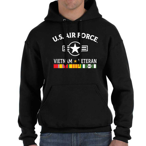 officially licensed us air force vietnam veteran hooded sweatshirt 3 ribbons and roundel s