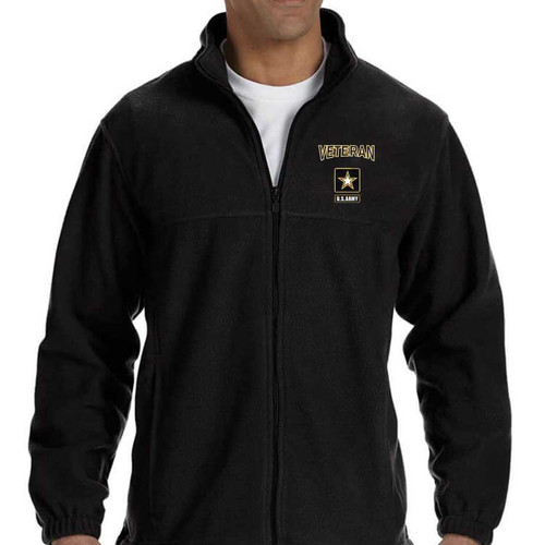 us army veteran logo embroidered fleece black jacket officially licensed