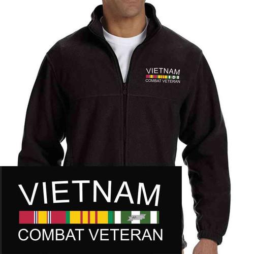 vietnam combat veteran embroidered fleece jacket