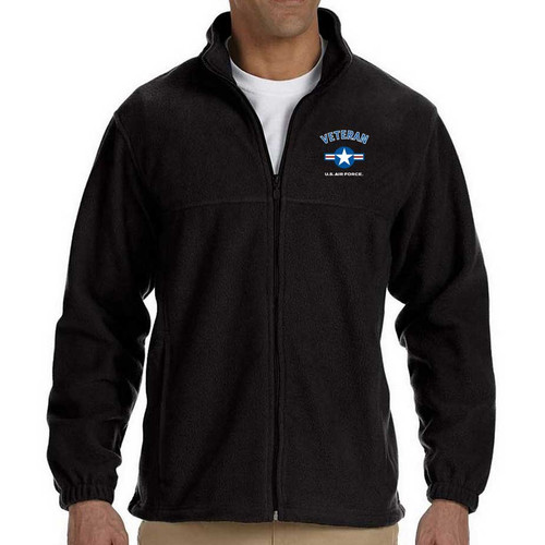 officially licensed us air force veteran fleece jacket usaf roundel logo embroidered