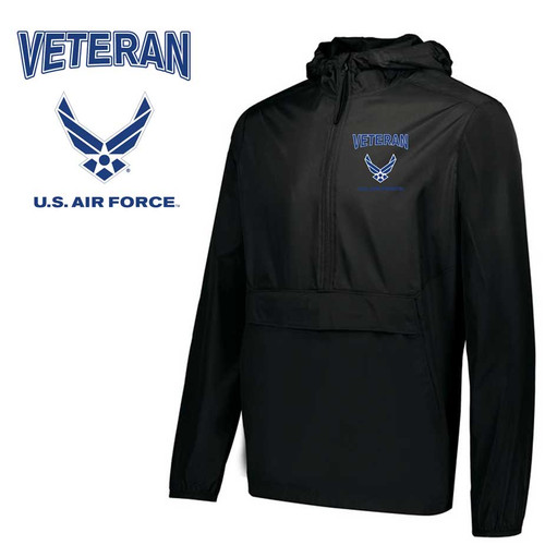 usaf veteran embroidered pack pullover jacket air force wings logo