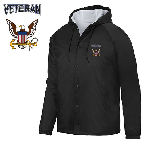 us navy veteran embroidered hooded sports jacket eagle
